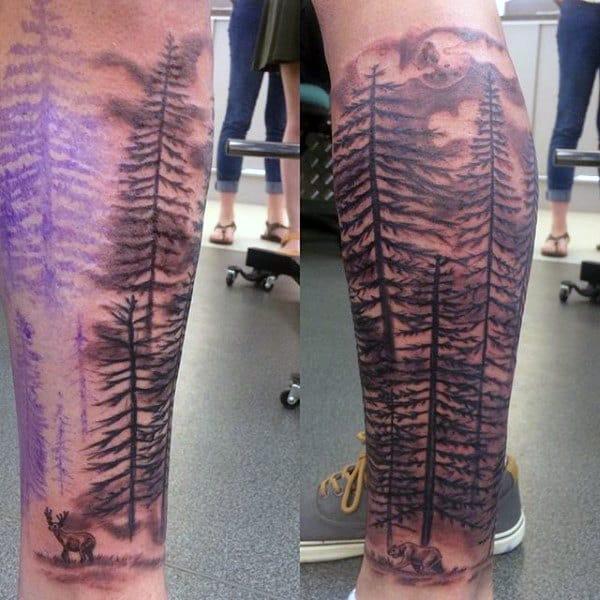 Wilderness Forest Deer Tattoo Leg Sleeve Mens Tattoo