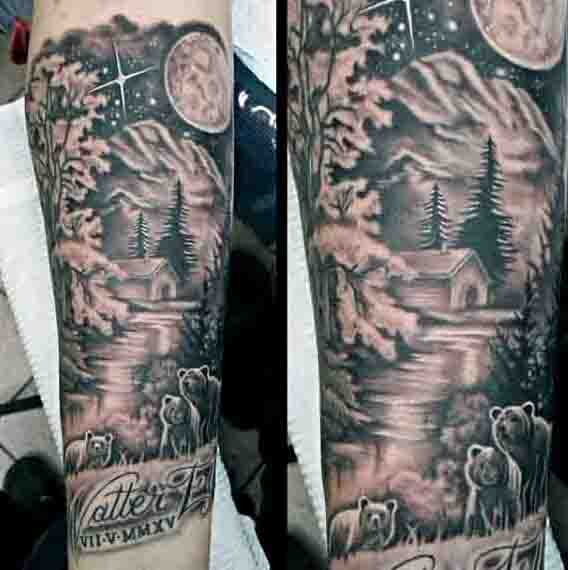 Wilderness Outdoors Mens Moon Tattoo On Forearm