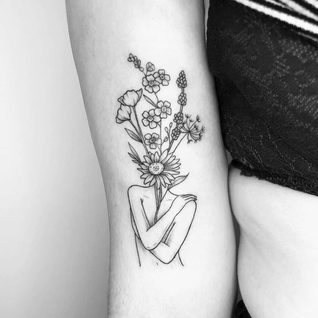 Wildflower Lady Lavander Tattoo