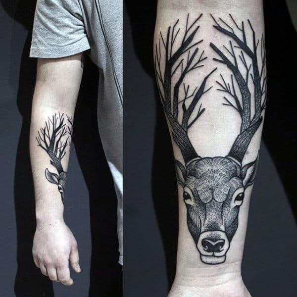 Wildlife Tattoos Deer On Mans Forearm