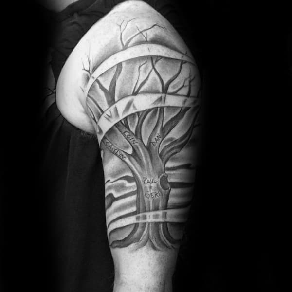 Wind Blowing Mens Shaded Black And Grey Family Tree Tattoos