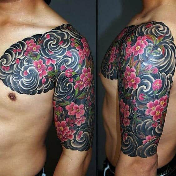 Wind With Cherry Blossom Flowers Mens Half Sleeve Japanese Tattoo