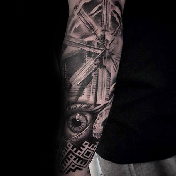 Windmill Mens Abstract Eye Chicano Forearm Tattoo