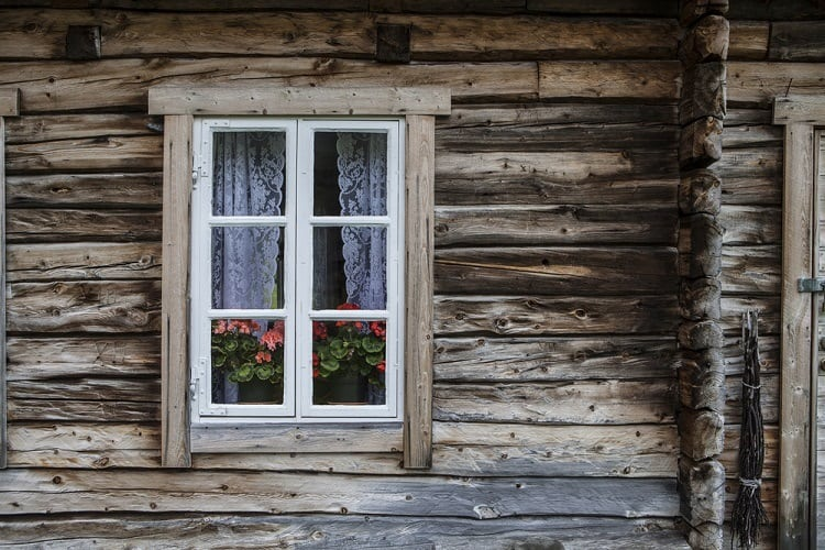 Window In Old Wooden House