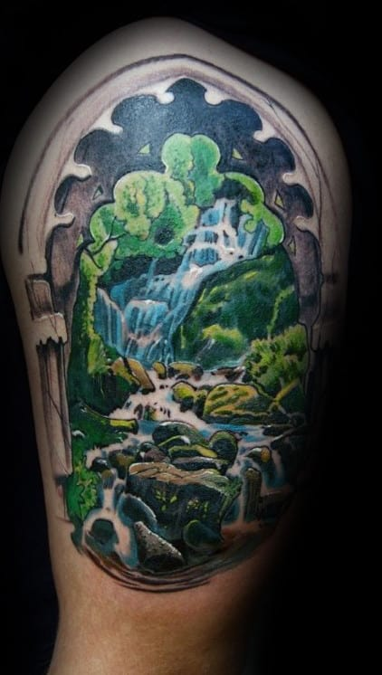 Window Waterfall Mens Upper Arm Tattoos