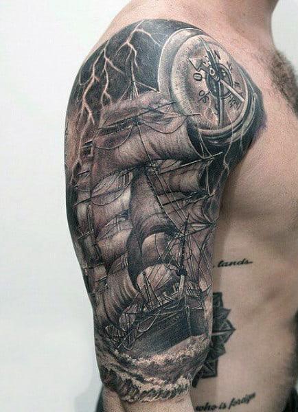 Windstorm And Lightning Tattoo On Man