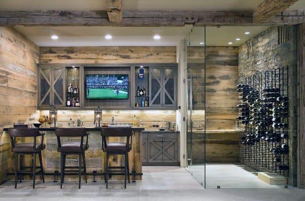 Wine Cellar Rustic Basement Design Ideas