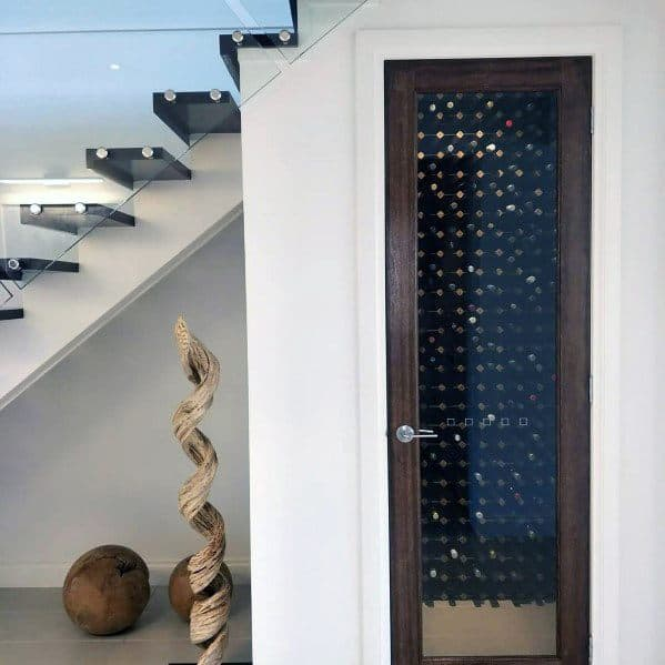 Wine Cellar With Door Under Stairs Modern Home Ideas