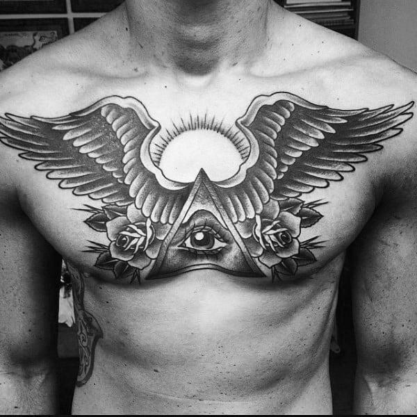 Wing And Illuminati Tattoo Male Chest