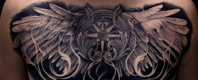 8d728287813ee 40 Wing Chest Tattoo Designs For Men - Freedom Ink Ideas