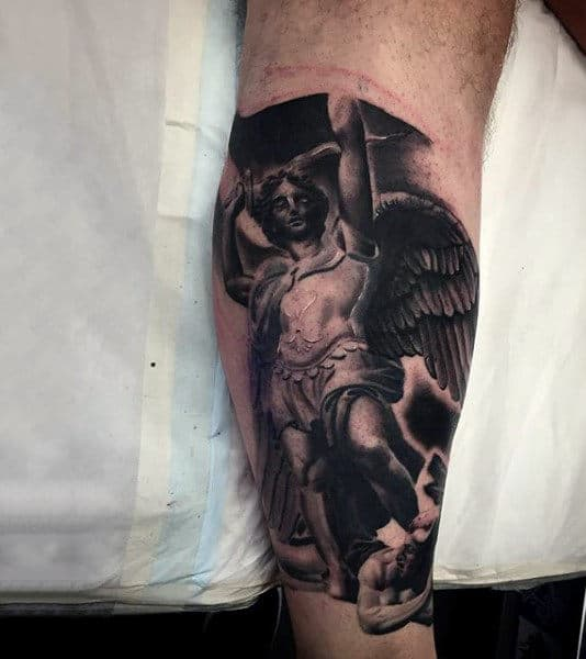 Winged God Religious Tattoo Male Forearms