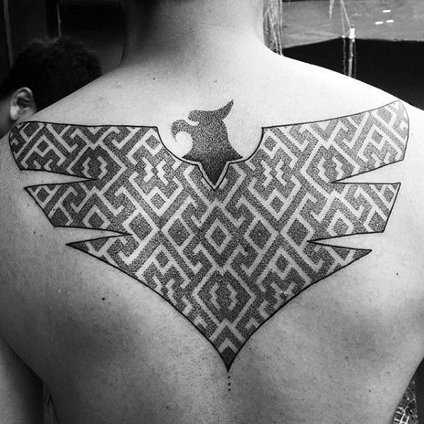 Winged Gray Pattern Tattoo Male Back