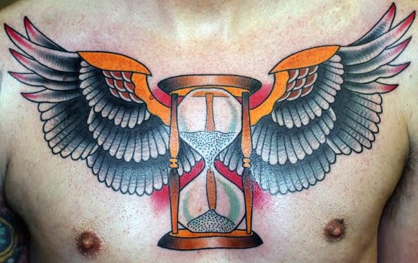 Winged Hourglass Traditional Mens Old School Tattoo On Upper Chest