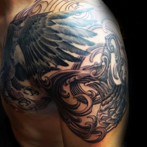 Wings Aquarius Mens Decorative Arm And Chest Tattoo