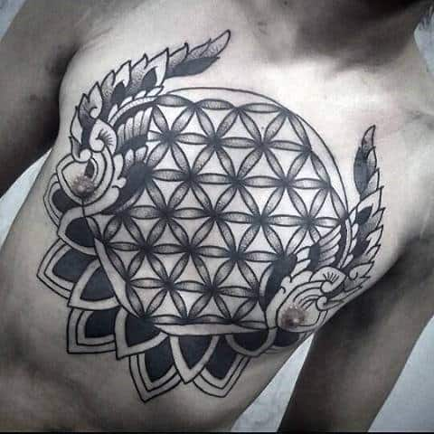 Wings Flower Of Life Mens Old School Chest Tattoos