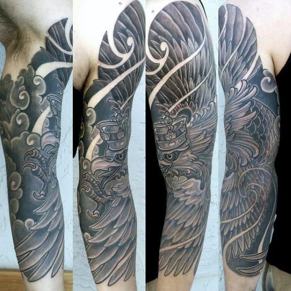 Wings Polish Eagle Mens Full Arm Sleeve Tattoos