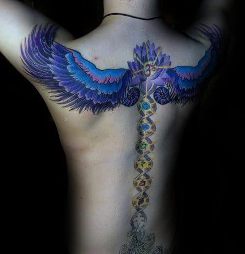 Wings With Chakras Mens Back And Spien Tattoos