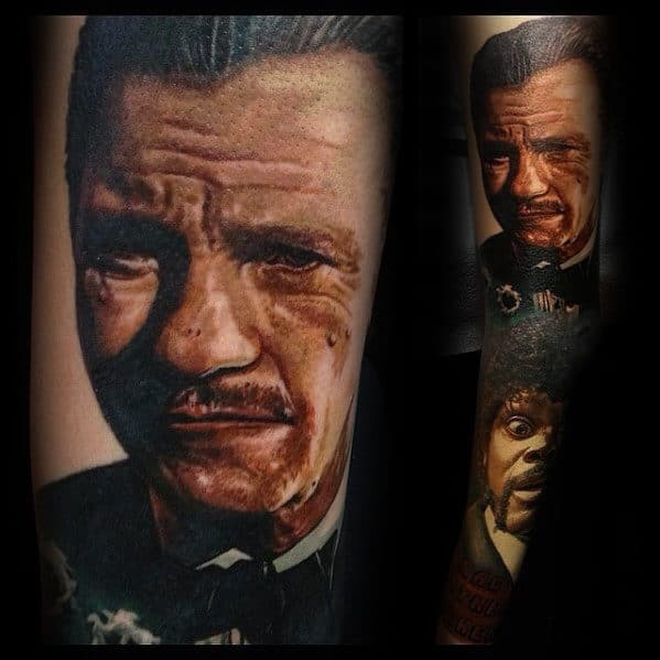 Winston The Wolf Wolfe Mens Pulp Fiction Arm Tattoo
