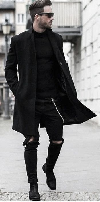 Winter Dapper Mens Fashion All Black Outfits