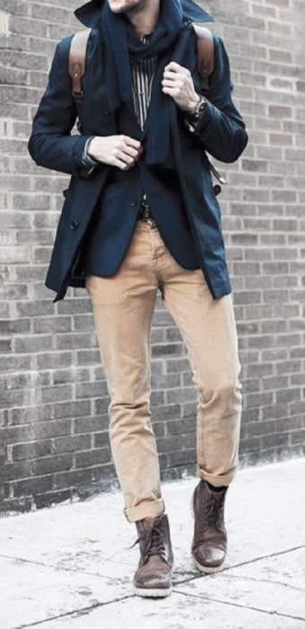 Winter Outfits Style With Boots And Khakis For Men