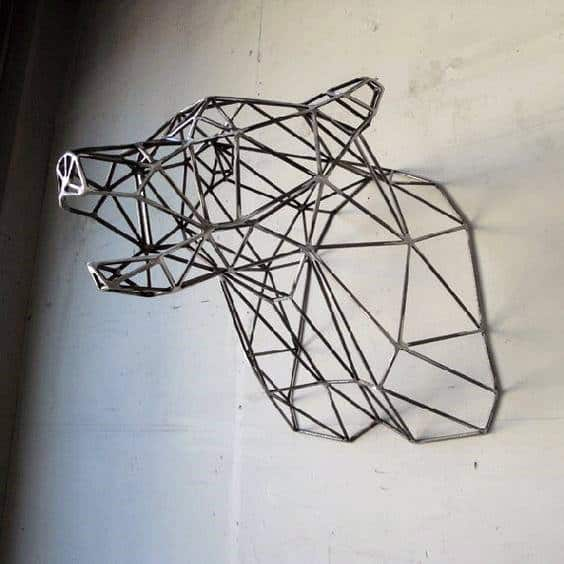 Wire Bear Man Cave Decor Wall Artwork