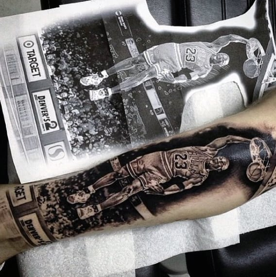 Wrist And Forearm Tattoo Basketball For Men