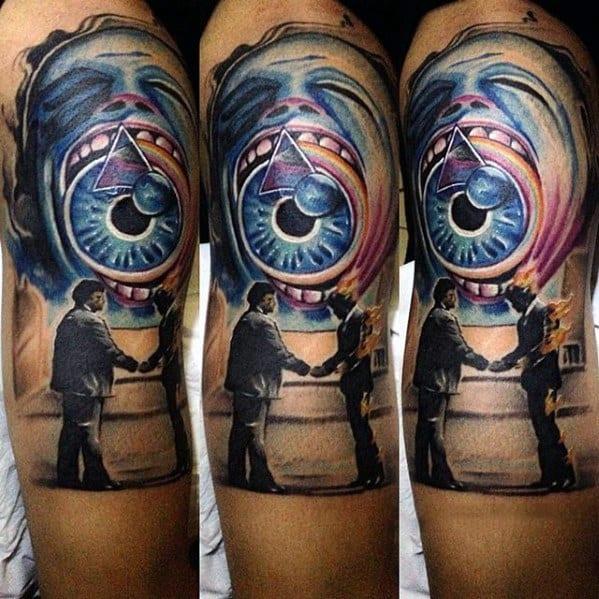 Wish You Were Here Mens Pink Floyd Half Sleeve Music Tattoo