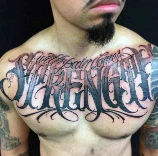 With Pain Comes Strength Manly Guys Chest Tattoos