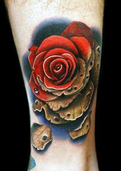 Withered Realistic Red Rose Flower Tattoo On Mans Lower Leg