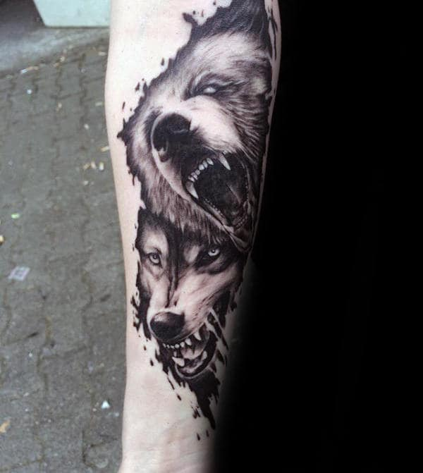 wolf-and-bear-watercolor-guys-forearm-tattoo