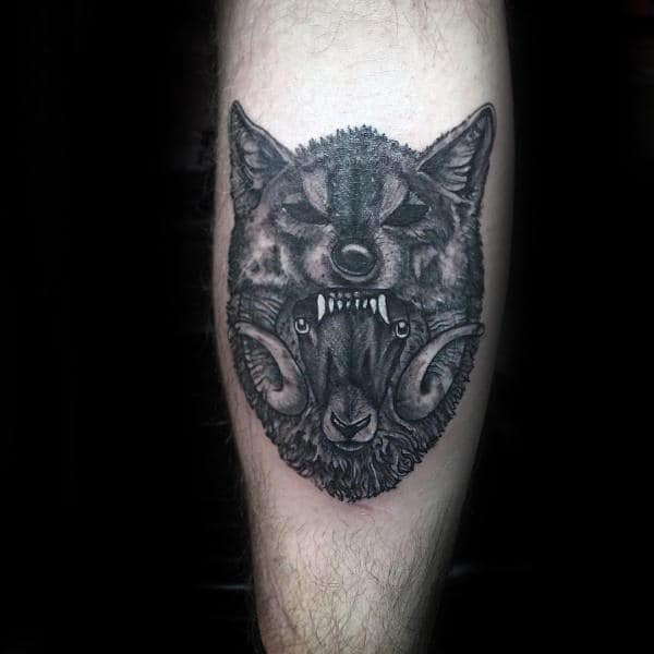 Wolf And Ram Mens Leg Calf Tattoos