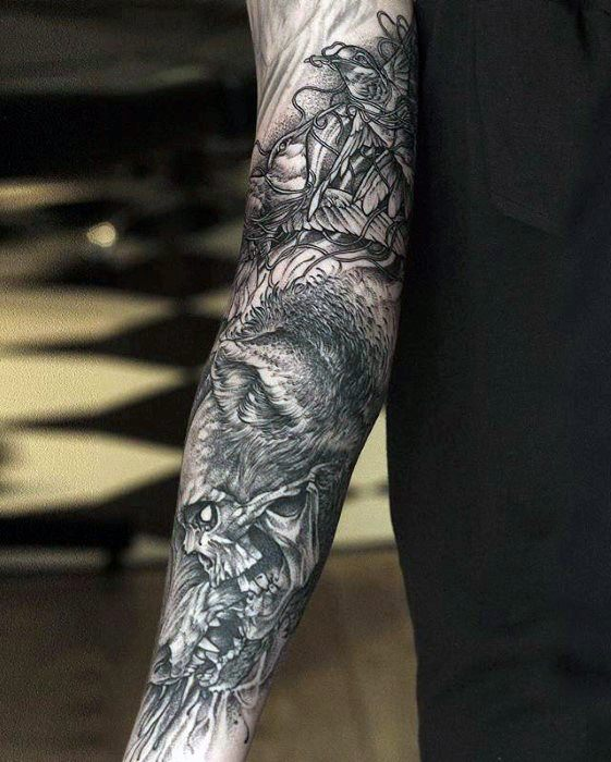 Wolf And Skull Unique Forearm Tattoos For Males