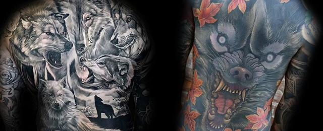 Wolf Back Tattoo Designs For Men