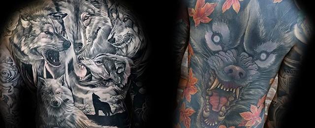 40 Wolf Back Tattoo Designs For Men – Fierce Ink Ideas