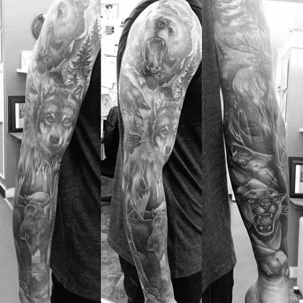 Wolf Bear And Moose Outdoors Themed Full Mens Sleeve Tattoos