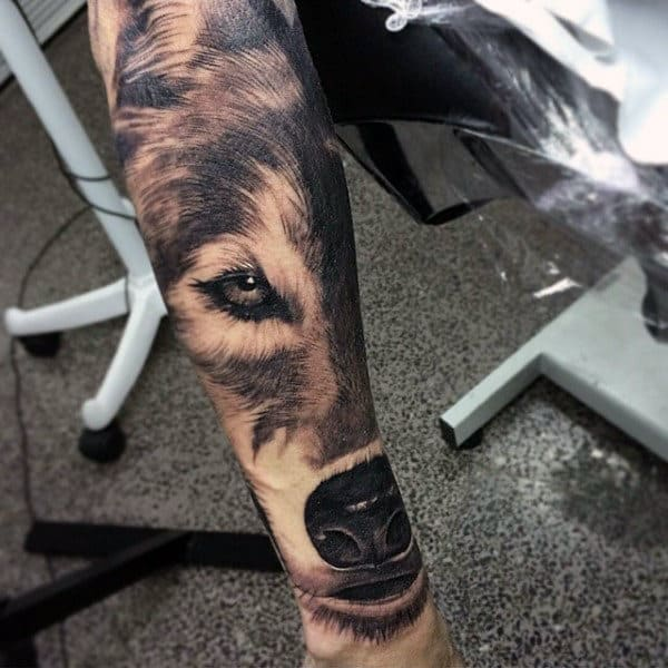 Wolf Black Ink Forearm Guys Tattoo Ideas