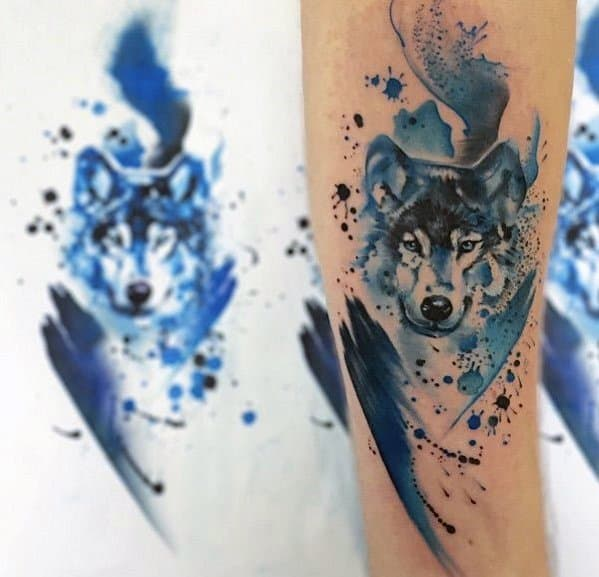 Wolf Blue Watercolor Guys Tattoo Designs