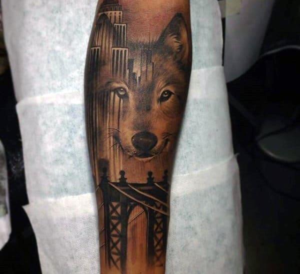 Wolf Bridge Forearm Sleeve Tattoo Ideas For Men