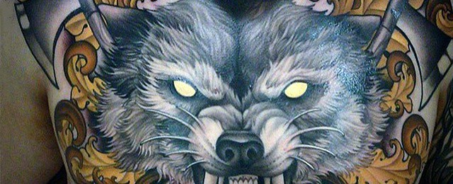 Wolf Chest Tattoo Designs For Men