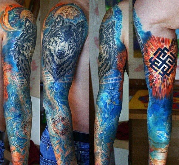Wolf Explosion Cool Guys Arm Tattoo Design Ideas