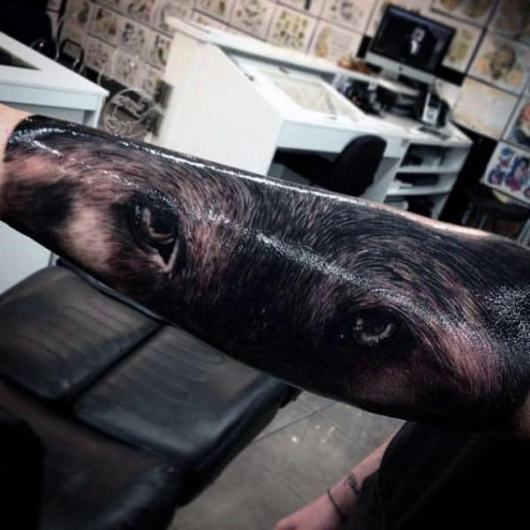 Wolf Eyes Realistic Mens Forearm Sleeve Tattoos
