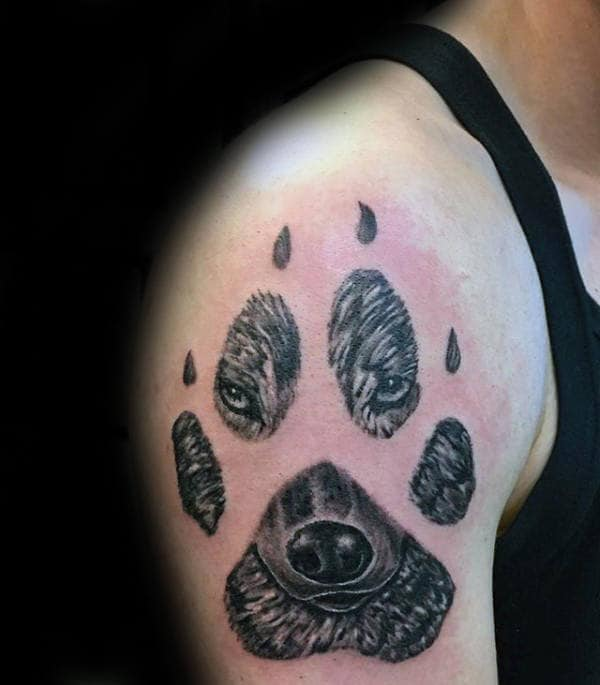 Wolf Face Inside Of Paw Mens Upper Arm Tattoo