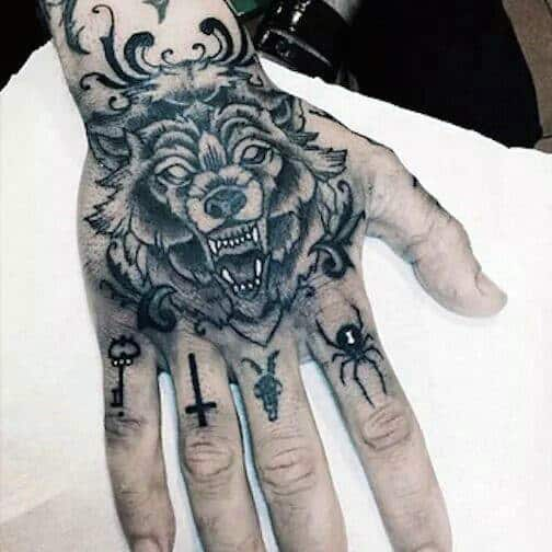 Wolf Hand Mens Best Knuckle Tattoos