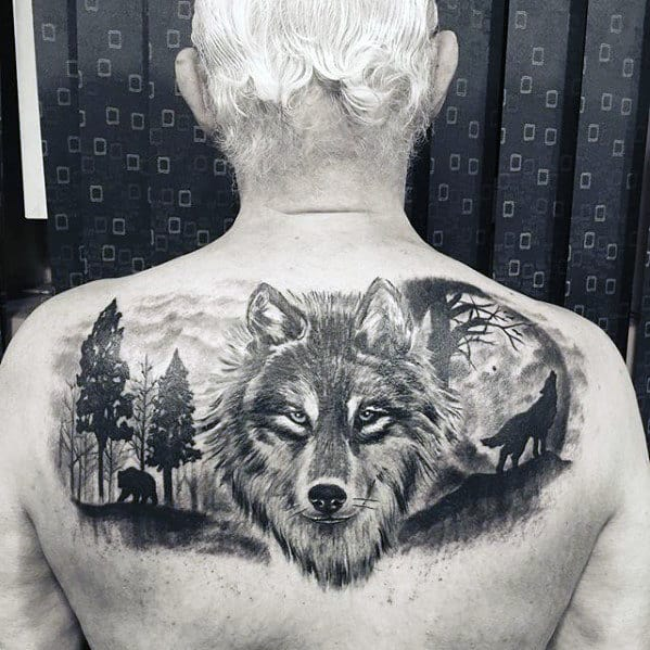 Wolf Howling At The Moon Cool Upper Back Tattoos For Men