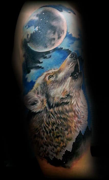 Wolf Howling At The Moon Realistic Guys Arm Tattoo