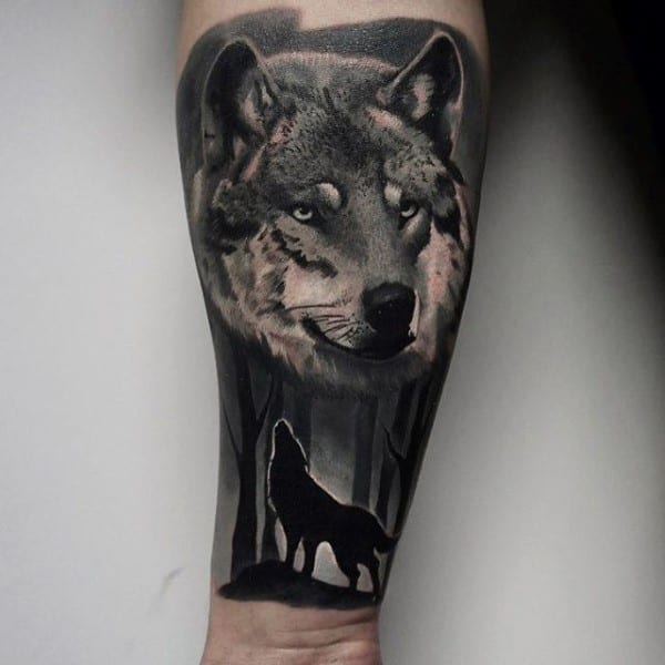 Wolf Howling Manly Guys Forearm Tree Sleeve Tattoos