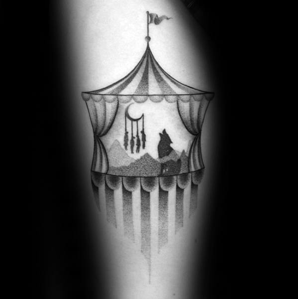 Wolf Howling With Circus Tent Thigh Tattoos Men