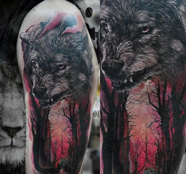 100 forest tattoo designs for men masculine tree ink ideas for Red wolf tattoo