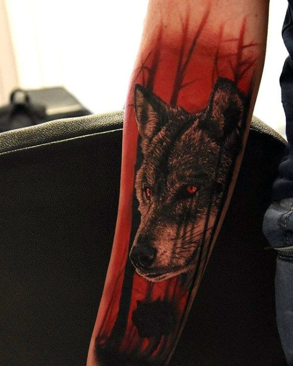 40 wolf forearm tattoo designs for men masculine ink ideas for Red wolf tattoo