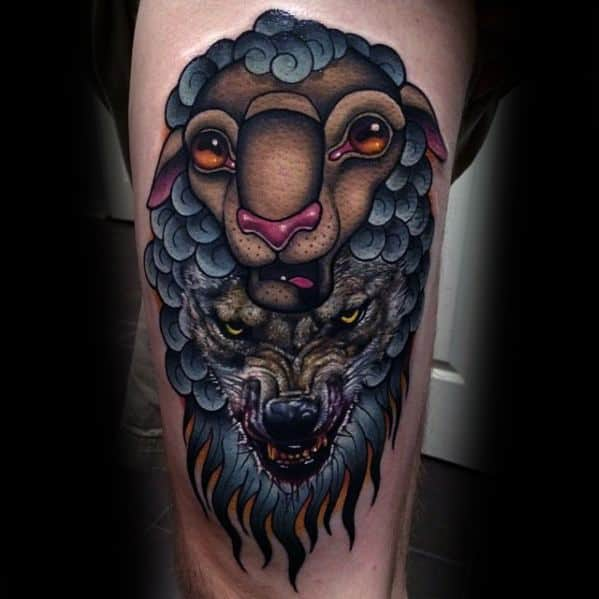 Wolf In Sheeps Clothing 3d Thigh Tattoos Men